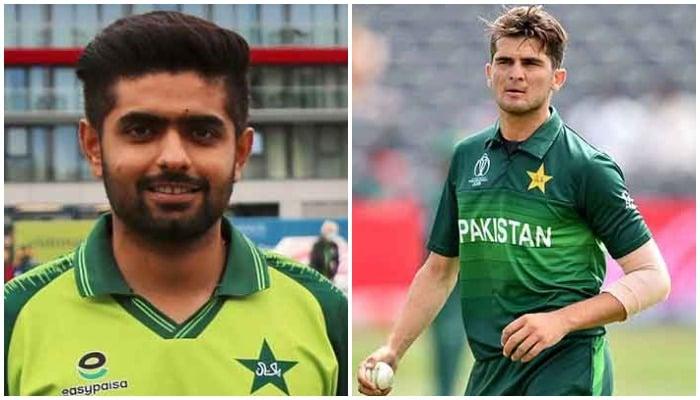 Pakistan cricket skipper BabarAzam (L) and bowler Shaheen Shah Afridi (R). Photos: PCB/Twitter