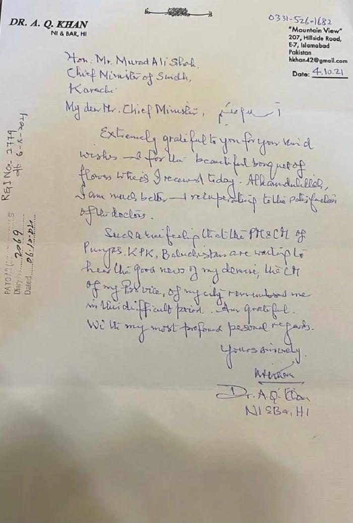 A picture of the letter nuclear scientist Dr Abdul Qadeer Khan sent to Sindh CM Murad Ali Shah. Photo: Geo Urdu