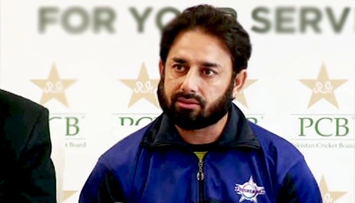 Former Pakistani spinner Saeed Ajmal speaking during a press conference. Photo: PCB.