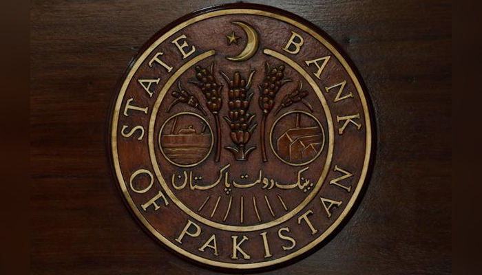 A logo of the State Bank of Pakistan (SBP) is pictured on a reception desk at the head office in Karachi, Pakistan July 16, 2019. — Reuters/File