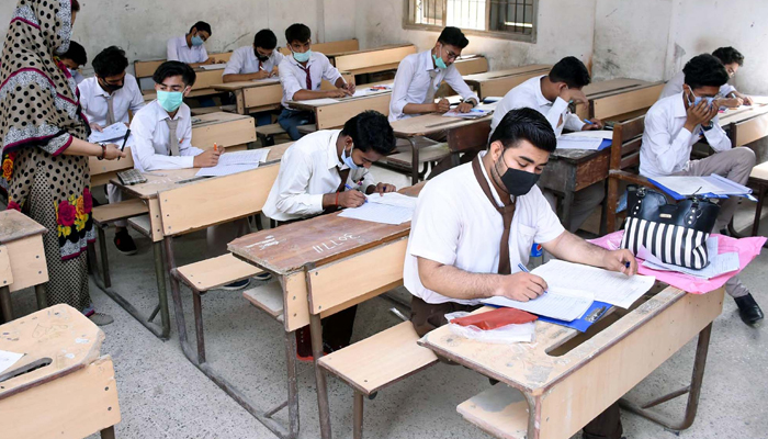 Matric students solving their exam paper at an examination centre in Sukkur on Monday, July 05, 2021. — PPI/File