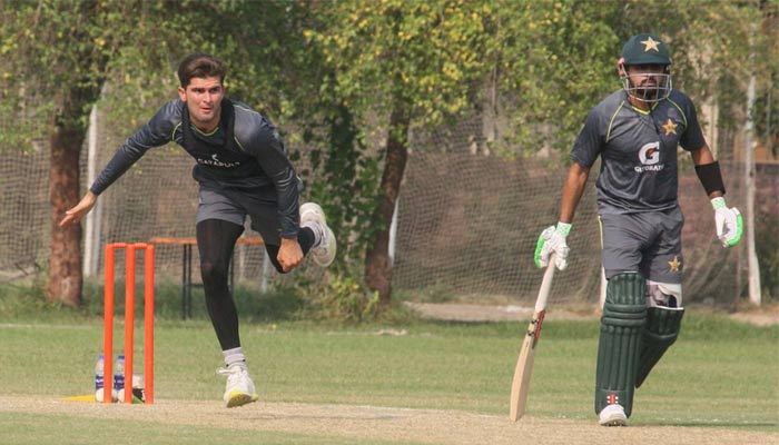 Shaheen Shah Afridi (left) and Babar Azam playing during the scenario match held on October 12. — PCB