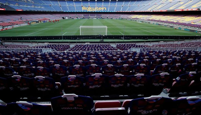 Soccer Football - La Liga Santander - FC Barcelona v Atletico Madrid - Camp Nou, Barcelona, Spain - June 30, 2020 General view inside the stadium before the match team jerseys were placed in the stands, as play resumes behind closed doors following the outbreak of the coronavirus disease (COVID-19). — Reuters/File