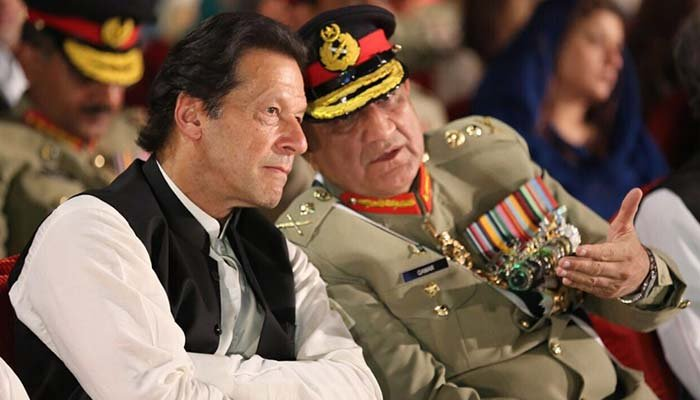 File photo shows Prime Minister Imran Khan (left) with Chief of Army Staff General Qamar Javed Bajwa at the Defence and Martyrs Day 2018 at the Armys General Headquarters in Rawalpindi.— ISPR/File