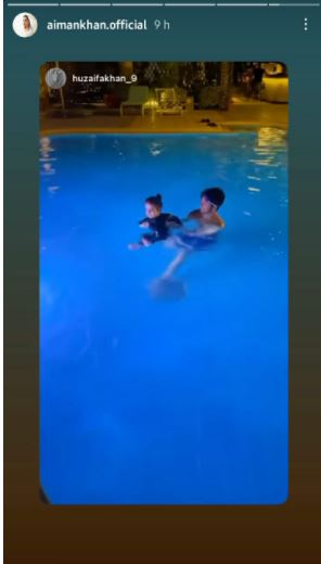 Watch: Aiman Khans babygirl Amal takes swimming lessons in this adorable video