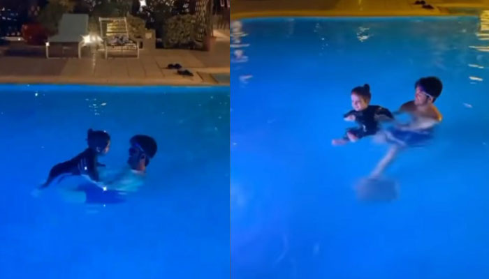Watch: Aiman Khans babygirl Amal takes swimming classes in this adorable video