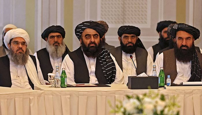 Members of the Taliban delegation during a meeting with foreign diplomats in Doha, on October 12. — AFP/File