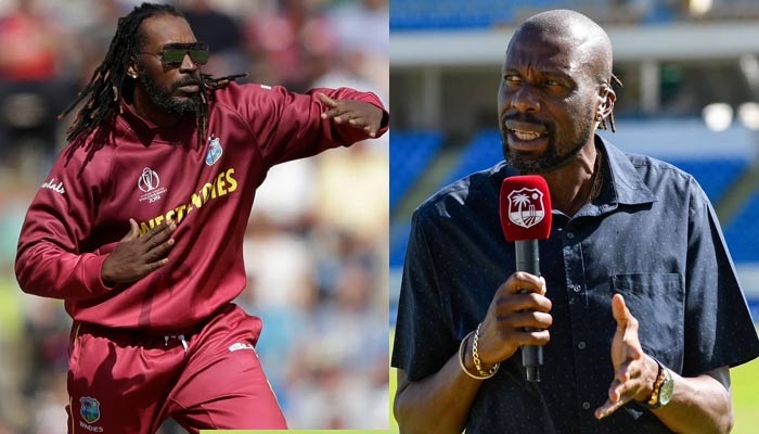 Jamaican cricketer Chris Gayle and former Caribbean athlete Curtly Ambrose. — Twitter/File