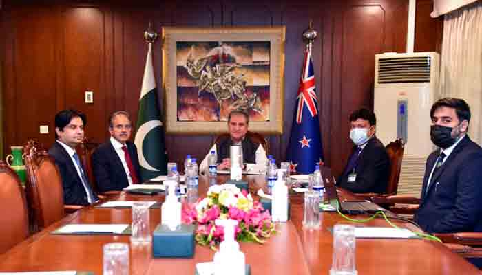 Foreign Minister Shah Mehmood Qureshitalks to his New Zealand counterpart Nanaia Mahuta via video link. Radio Pakistan