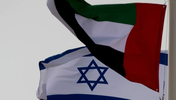 Emirati and Israeli flags fly upon the arrival of Israeli and U.S. delegates at Abu Dhabi International Airport, in Abu Dhabi, United Arab Emirates August 31, 2020. — Reuters/File