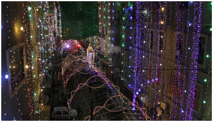 A beautiful illuminated view of street decorated with lights in connection with Eid Milad-un-Nabi in Karachi. Photo: PPI