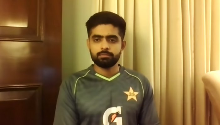 Pakistan captain Babar Azam speaking during a virtual press conference on October 13, 2021. — YouTube