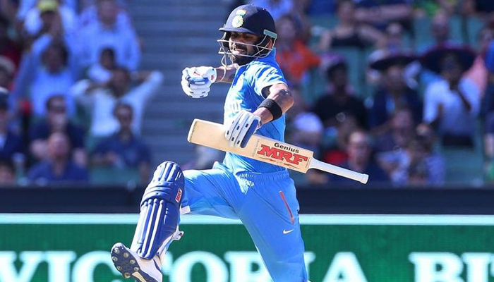 Indias Virat Kohli celebrates his century against Australia during their One Day cricket match at the Melbourne Cricket Ground, January 17, 2016. — Reuters/File
