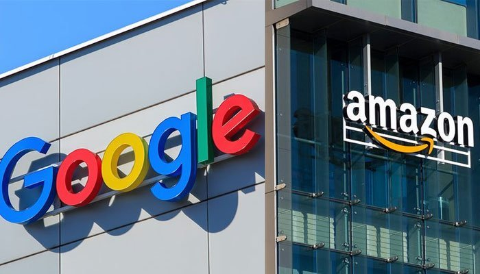 Picture showing the buildings of Google and Amazon. Photos: Reuters