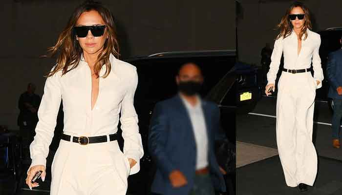 Victoria Beckham cuts a stylish figure in white wide-legged jumpsuit as she returns to NYC hotel