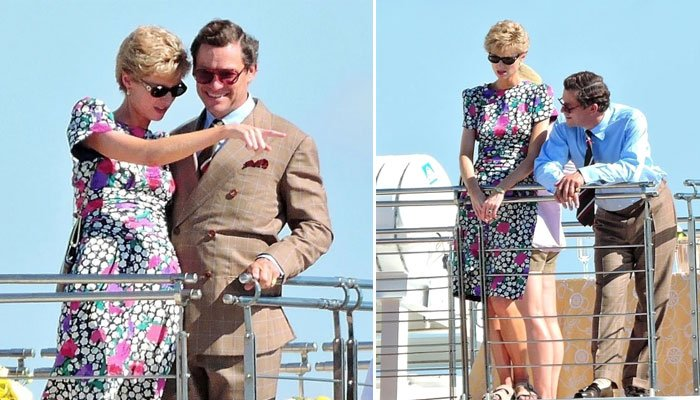 Elizabeth Debicki looking like a spitting image of Princess Diana as she can be seen with Dominic West's Prince Charles