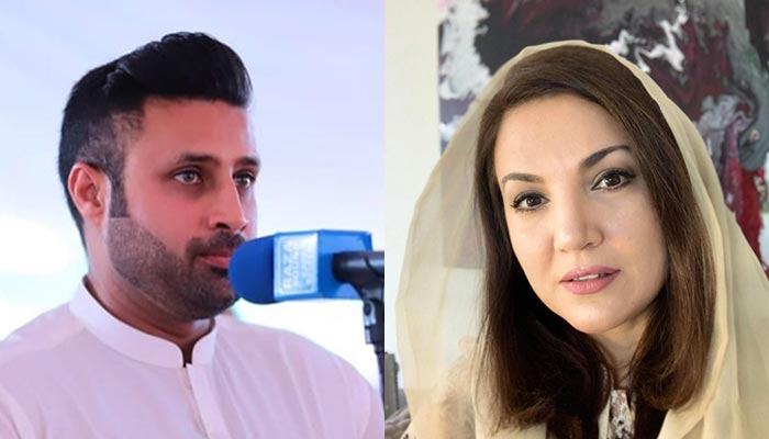 Prime Minister Imran Khan's former Special Assistant Zulfi Bukhari (left) and Reham Khan, a broadcaster and former wife of the premier. — Instagram/File
