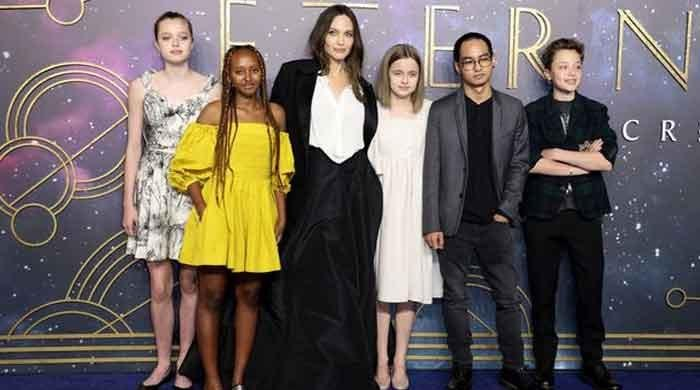 Angelina Jolie and kids grace star-studded blue carpet at Eternals UK premiere